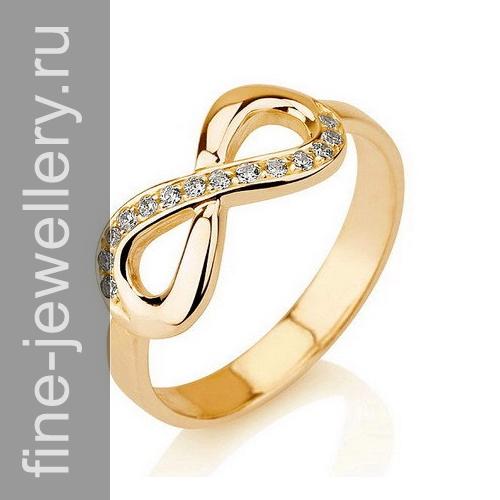 кольцо со знаком бесконечности из белого золота