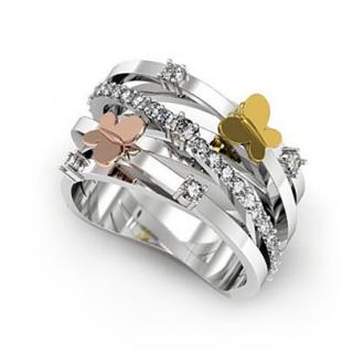 Кольцо бабочки с бриллиантами