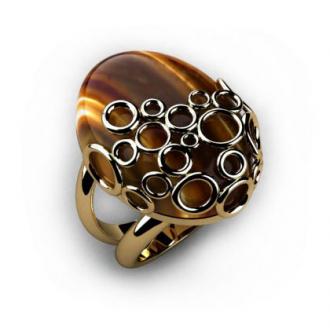 Золотое кольцо с тигровым глазом