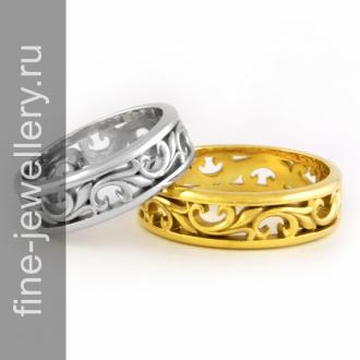 Резные обручальные кольца из золота