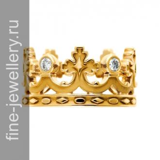 Обручальные кольца в виде короны из желтого золота