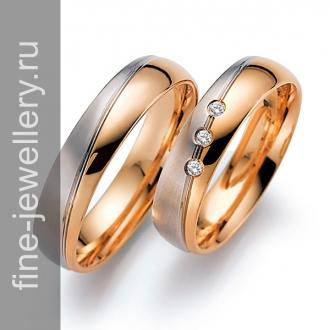 Обручальные кольца двухцветные из белого и красного золота