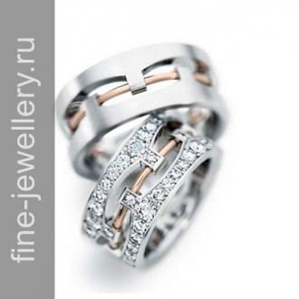 Обручальные кольца со вставкий из красного золота