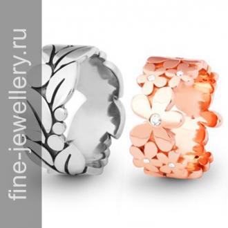 Обручальные кольца цветочным узором