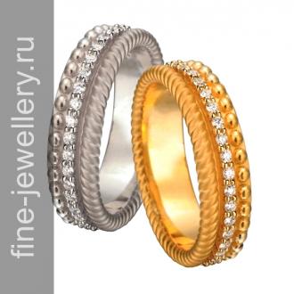 Парные свадебные кольца с шариками