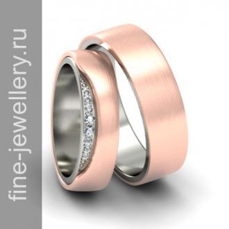 Двойные обручальные кольца белое и красное золото