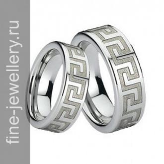 Обручальные кольца с мендром из белого золота