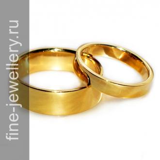 Классические обручальные кольца из желтого золота