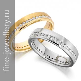 Обручальные кольца с дорожкой бриллиантов