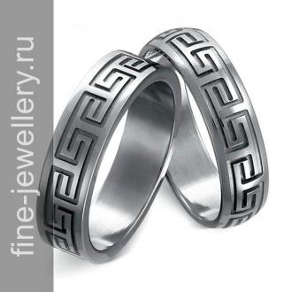 Обручальные кольца с греческим орнаментом