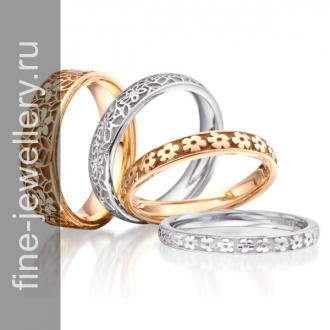 Свадебные кольца цветочные кружева