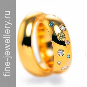 Обручальные кольца с разноцветными камнями