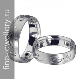 Платиновые кольца с простым узором