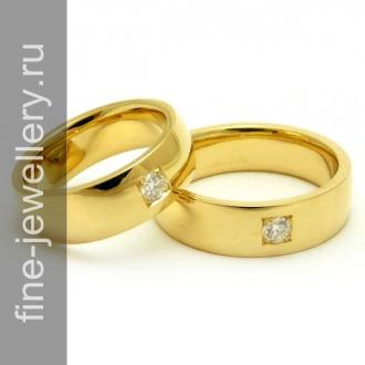 Классические обручальные кольца с бриллиантами