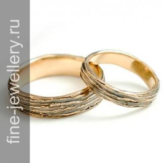 Обручальные кольца с рельефом дерева