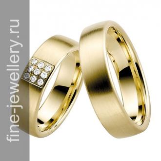 Обручальные кольца с блоком бриллиантов