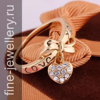 Золотое кольцо с сердечком love you