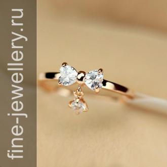 Золотое кольцо с подвижной подвеской