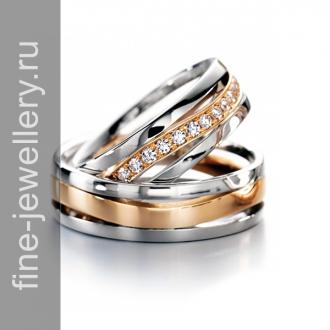 Обручальные кольца комбинированные с бриллиантами
