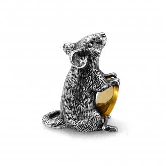 Серебряная мышь с монеткой — фигурка талисман 2020 года