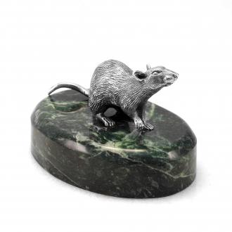Серебряная крыса — Новогодний сувенир символ 2020 года.